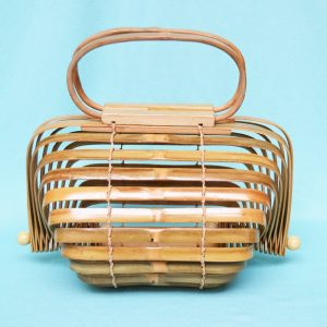 Foldable bamboo handbag oval
