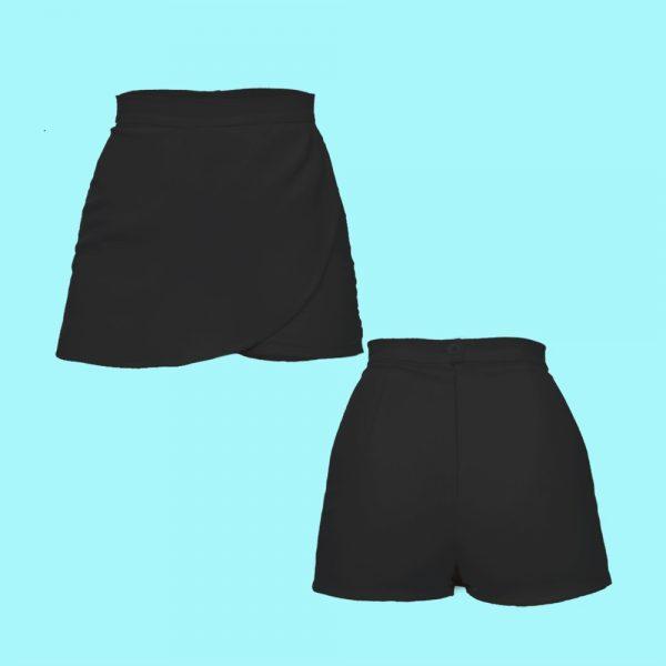Short trouser skirt black