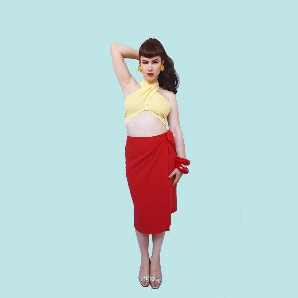 moda años 50 falda pareo