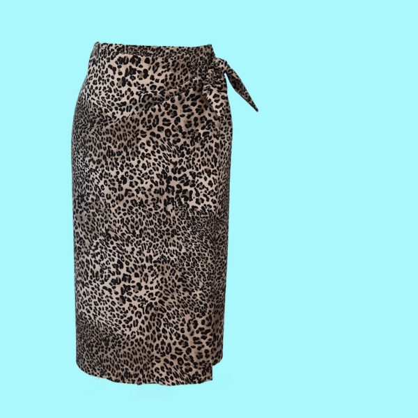 print animal wrap skirt