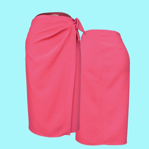 pink wrap skirt